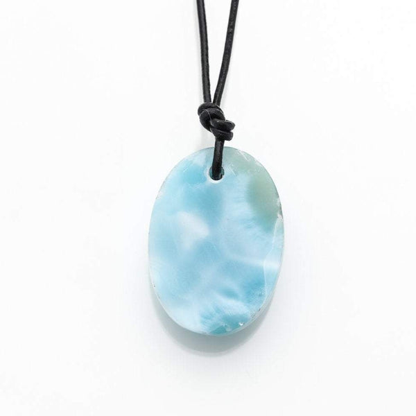 Larimar and Leather Necklace, Monroe