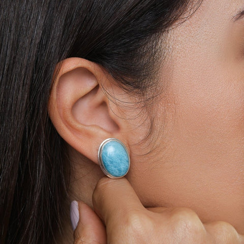 Larimar Stud Earrings, Misha S.