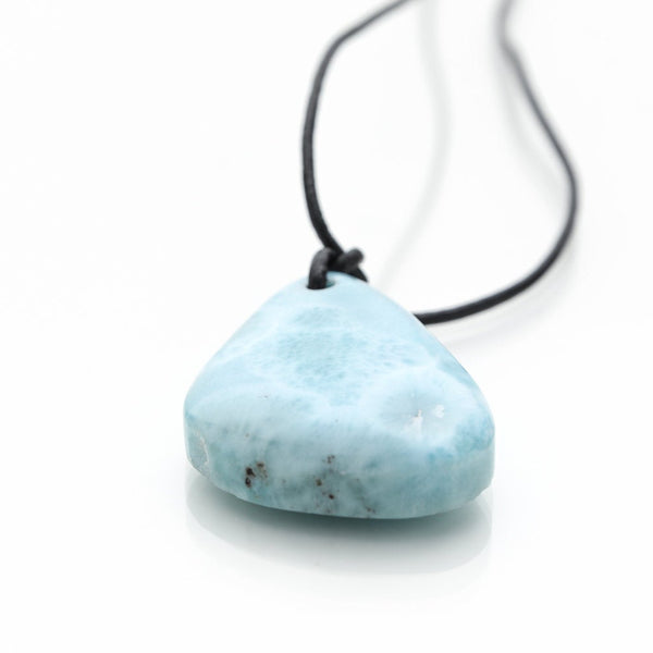 Larimar and Leather Necklace, Angel