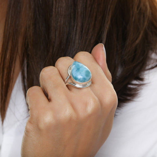 Teardrop Larimar Ring, Jomma