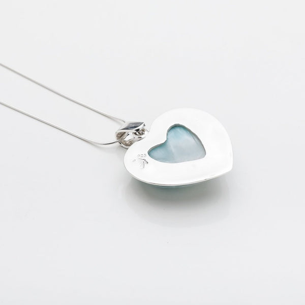 Larimar Heart Pendant, CLOUD XXVI