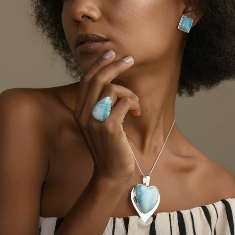 Larimar Teardrop Ring, CLOUD XXIV