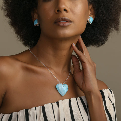 Larimar Heart Necklace, Cecilia