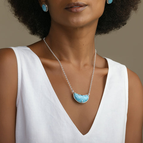 Larimar Moon Necklace, Lucero