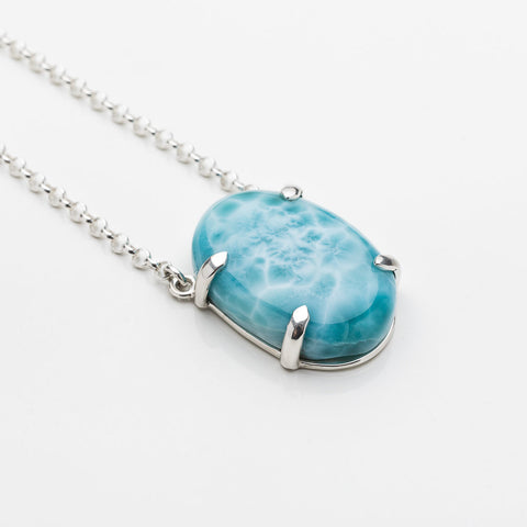 Larimar Oval Necklace, Rosalia