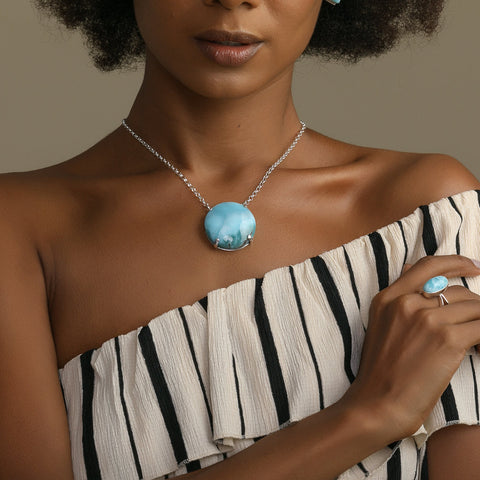 Larimar Round Stone Necklace, Kim