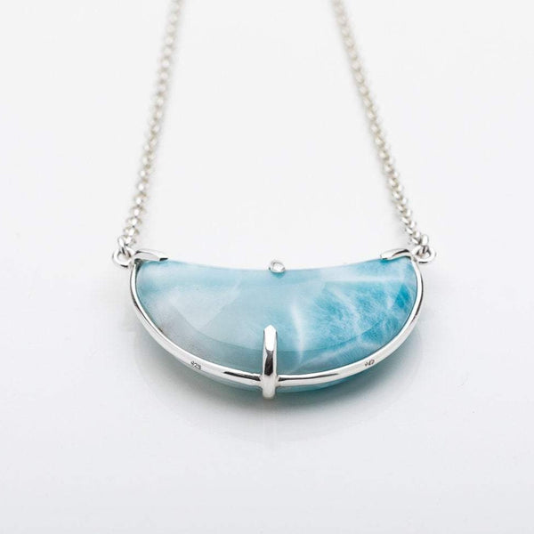 Larimar Moon Necklace, Lilia