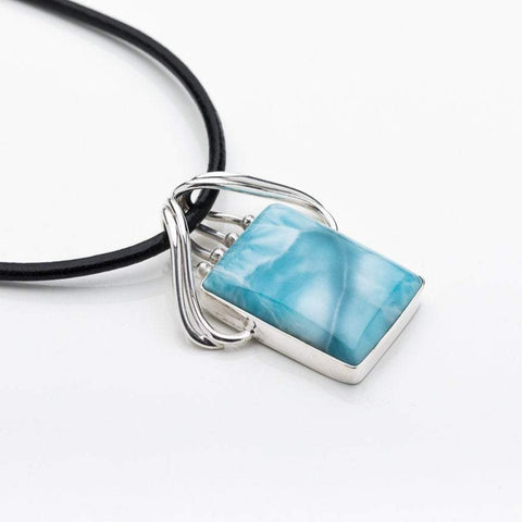 Larimar Rectangle Pendant, Haley