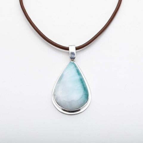 Larimar Heart Pendant, CLOUD XXVII