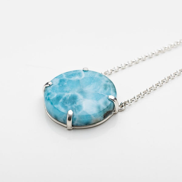 Larimar Round Necklace, Aqualina