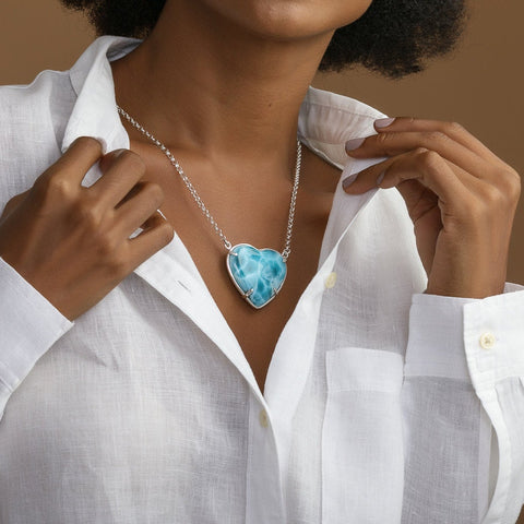 Larimar Heart Stone Necklace, Amanda