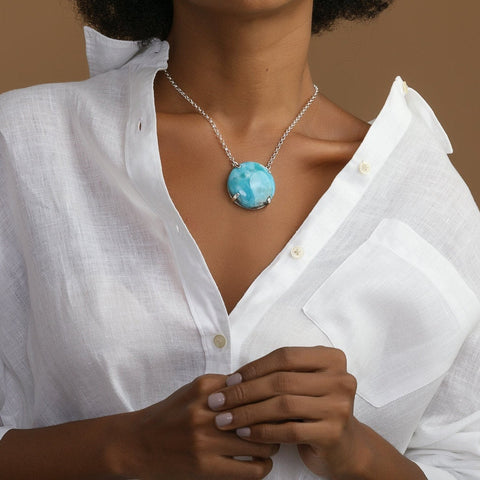 Larimar Round Stone Necklace, Issy