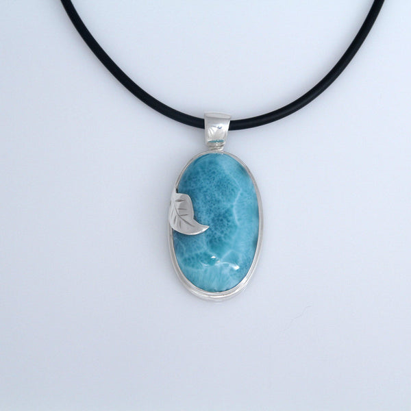 Leaf Wrapped Larimar Pendant