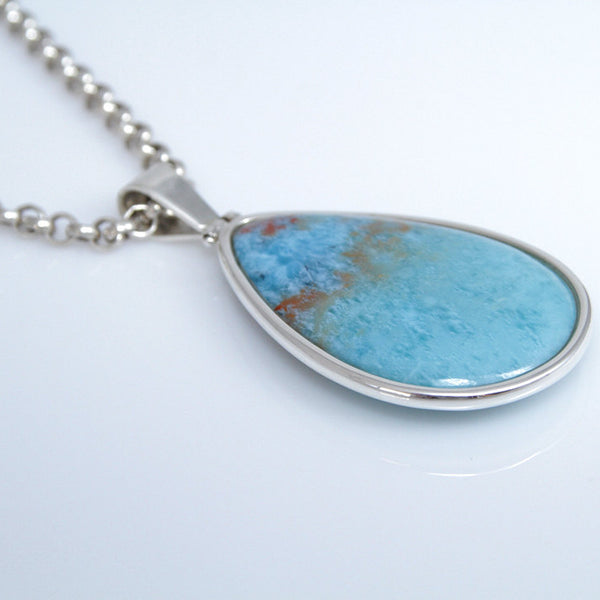Larimar Specimen Pendant, Double Sided
