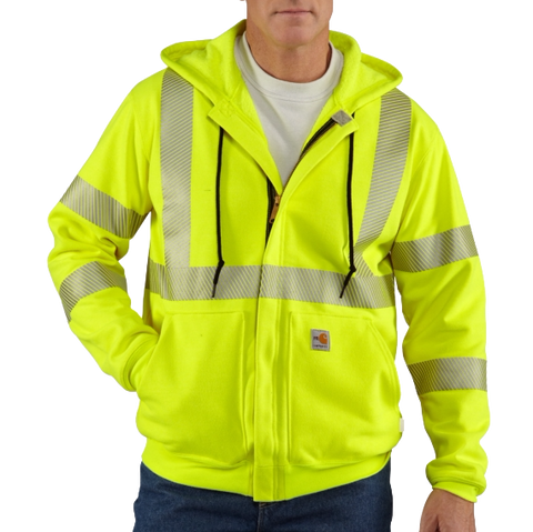 Carhartt FR Heavyweight High-Visibility Class 3 Hooded Zip-Front Sweatshirt - 100460
