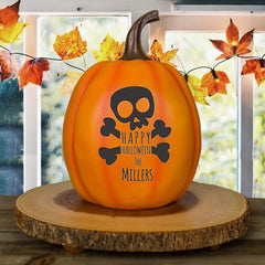 Personalized Skull and Bones Pumpkin
