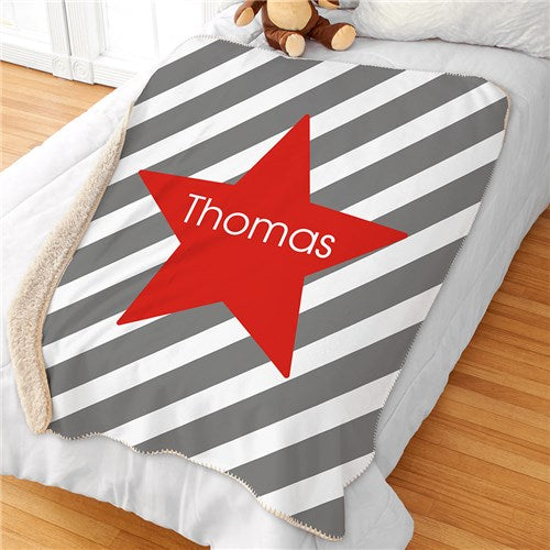 Personalized Stripes & Star Blanket
