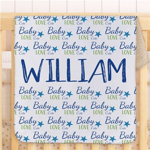 Personalized Baby Love Boy Blanket