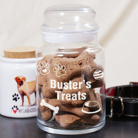 Engraved Pet Treat Glass Jar