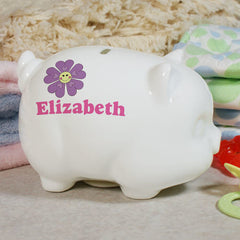 Personalized Flower Piggy Bank