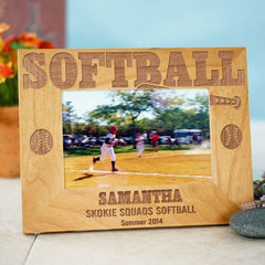 Softball Wood Picture Frame