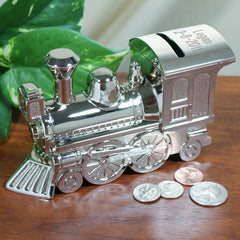 Silver Train Bank With Name & Date