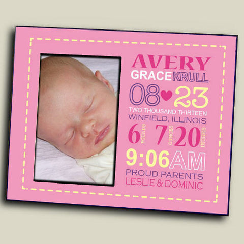 Baby Birth Announcement Picture Frame (boy & girl design)