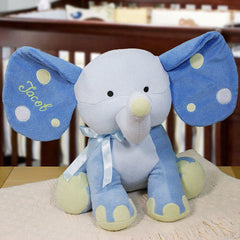 "Embroidered 14"" Blue Polka Dot Elephant"