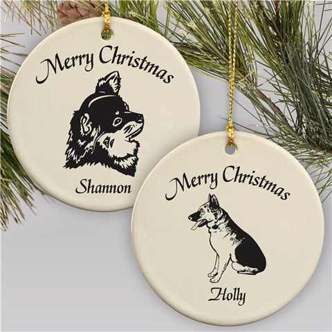 Dog Breed Personalized Ceramic Ornament- over 45 breeds available!