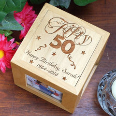 50th Birthday Engraved Photo Cube