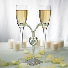 Engraved Raindrop Glass Flutes With Silver Stand