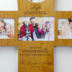Engraved Wooden Photo Cross- Moments