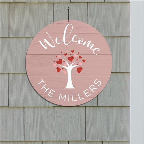 Personalized Hearts Tree Welcome Sign