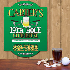 19th Hole Personalized Golf Sign