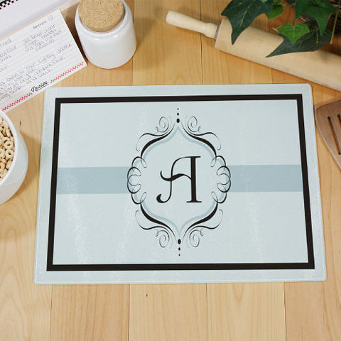 Family Monogram Glass Cutting Board