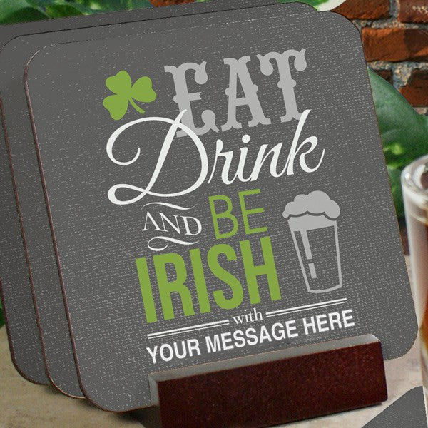 Personalized Irish Welcome Coaster Set
