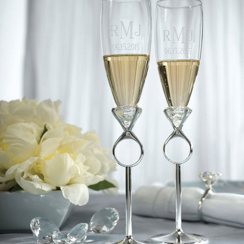 Diamond Ring Stem Champagne Glass Set with Monogram