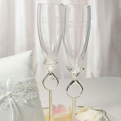 Diamond Ring Stem Champagne Glass Set