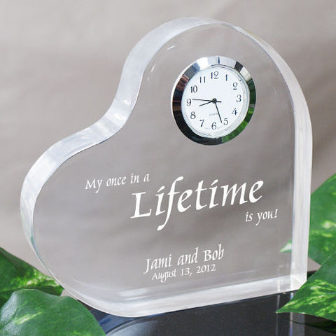 My Once In A Lifetime Engraved Keepsake Clock