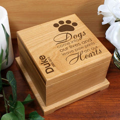 Engraved Paw Prints On Our Hearts Dog Urn