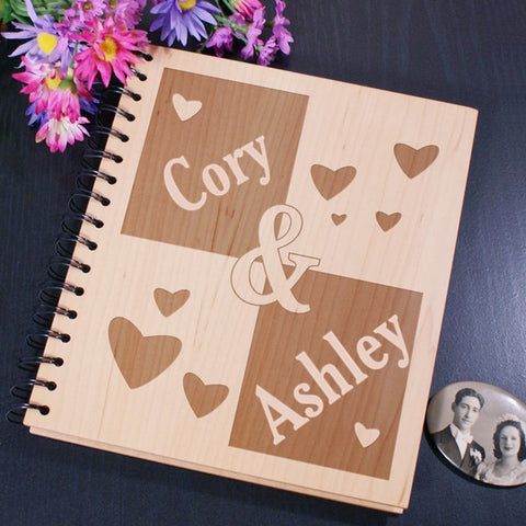 Couple's Names Wood Photo Album