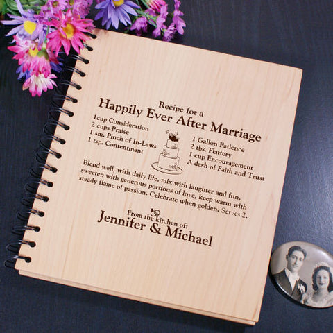 Happily Ever After Recipe Engraved Wood Recipe Album