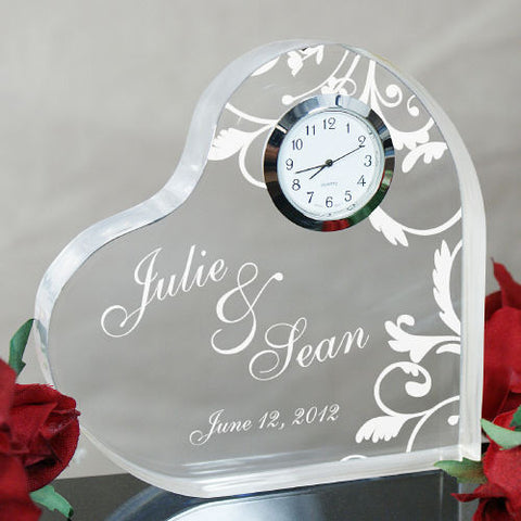 Floral Couple's Heart Engraved Keepsake Clock
