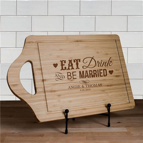 Engraved Eat Drink Be Married Cutting Board