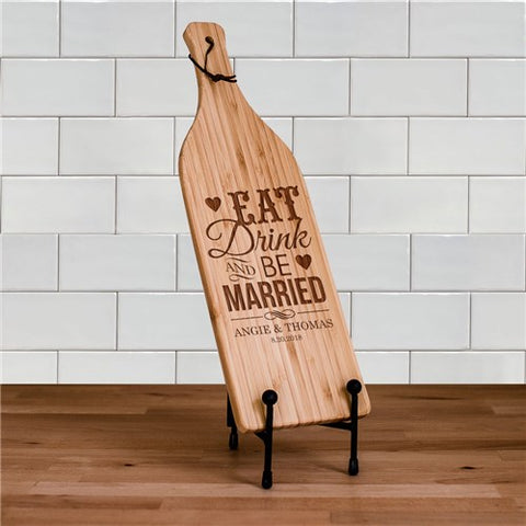 Eat, Drink and Be Married Wine Bottle Shaped Cheese Board