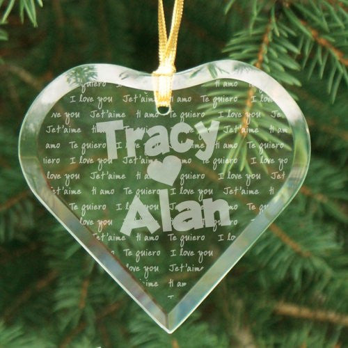 Language Of Love Heart Glass Ornament