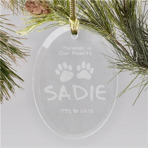 In Our Hearts Pet Memorial Glass Ornament