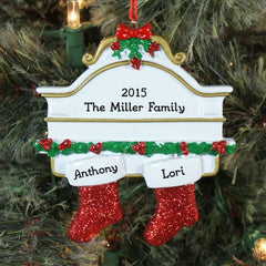 White Mantle & Stockings Personalized Ornament