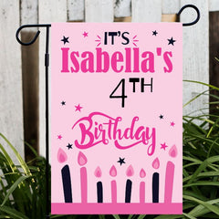 Personalized Pink Birthday Sign Flag
