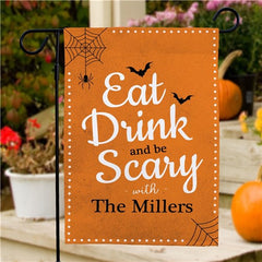 Personalized Eat Drink Be Scary Halloween Flag